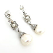 Antique 1.0ct Old Cut Diamond & 11mm Natural Pearl Platinum Filigree Earrings ZC13-18