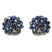 1940's 8.0ct Natural Sapphire & Diamond 14K White Gold Clip Earrings ZC13-19