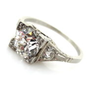 Antique Edwardian 1.21ct Old Mine Cut Diamond & Platinum Decorated Ring EN1-1