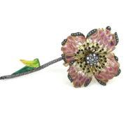 Vintage 1.75ct Diamond & Sapphire Plique A Jour Enamel Silver & 18K Gold Trembling Flower Brooch OA15-3