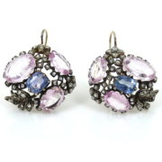 Antique Edwardian 1.0ct Diamond 5.0ct Natural Sapphire & 22.0ct Pink Topaz Silver & Gold Earrings MH11-1