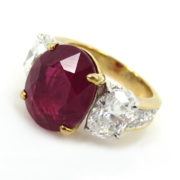 Certified 7.65ct Ceylon Ruby & 2.25ct Oval Cut Diamond 18K Gold Ring MH11-3