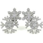 Estate Tiffany & Co France Diamond & Platinum Snowflake Earrings OA15-8