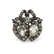 Antique Victorian 3.0ct Old Cut Diamond Silver & Gold Pendant Brooch OA15-12