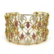 Estate 2.88ct Diamond & 6.0ct Ruby & Multi Color Sapphire 18K Gold Wide Cuff Bangle RR41-2