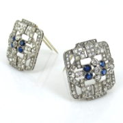 Art Deco 5.50ct Old Mine Cut Diamond & 2.0ct Sapphire Platinum Double Clip Brooches RR41-5