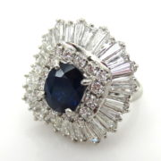 Vintage 6.0ct Diamond & 2.22ct Natural Sapphire Platinum Ballerina Pendant Ring RR41-6