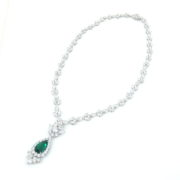 4.08ct Colombian Emerald & 24.26ct Diamond Platinum Drop Necklace GRS Old Mine KB6-1