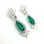 8.13ct GRS Vivid Green Minor Treatment Colombian Emerald & 11.19ct Diamond Platinum Drop Earrings KB6-2