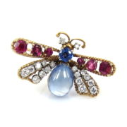 Vintage 0.70ct Diamond 0.80ct Burma Ruby & 3.50ct Natural Sapphire Hand Made 14K Gold Fly Pin DK4-2