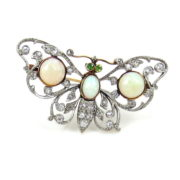 Antique Charleston& Co Old Mine Cut Diamond Opal & Demantoid Garnet Platinum & Gold Butterfly Brooch DK4-4