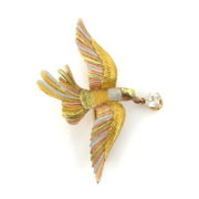 Antique 0.75ct Old Mine Cut Diamond & 14K Multi Color Hand Carved Bird Brooch DK4-8
