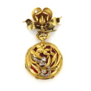 Art Nouveau CH Meylan Old Mine Cut Diamond & Enamel 18K Gold Pocket Watch & Fob DK4-9