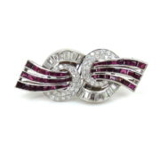 Art Deco 4.50ct Diamond & 4.0ct Burma Ruby Platinum Double Clip Brooch DK4-13