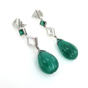 Vintage 35.0ct Emerald 3.0ct Diamond 18K White Gold Drop Earrings AN208-5