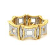 Vintage 22.0ct Diamond & 18K White & Yellow Gold Hand Carved Large Bracelet OA12-2