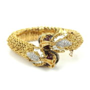 Rare Vintage 0.75ct Diamond Sapphire & Enamel Double Dragon Crossover Bracelet OA12-3