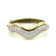 Vintage 7.0ct FG/VS Diamond & 14K White & Yellow Gold Curved Dome Bangle OA12-4