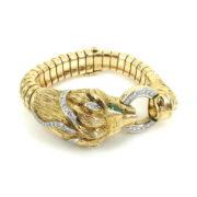 Vintage 2.0ct Diamond 1.0ct Emerald & 14K Gold Giant Lion Bracelet OA12-5