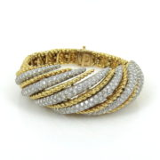 1960's 14.50ct Diamond Platinum & 18K Yellow Gold Dome Bracelet OA12-7