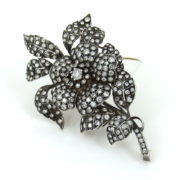 Vintage 10.0ct Diamond Silver & Gold Large Size Flower Brooch SM6-4