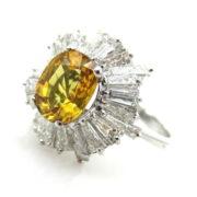Fine 1.70ct Vivid Yellow Sapphire & 2.75ct Baguette Cut Diamond Platinum Ballerina Ring SM6-6