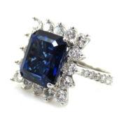 Estate 6.88ct Emerald Cut Royal Blue Sapphire & 1.75ct Diamond 14K White Gold Ring SM6-8