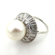 Vintage 3.50ct Diamond & 12.4mm South Seas Pearl Platinum Ring SM6-9