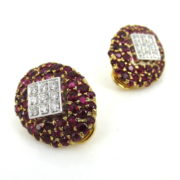 Vintage 1.50ct Diamond & 6.50ct Ruby 18K Yellow Gold Clip Earrings SM6-12