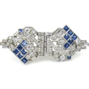 Art Deco Gillot & co 3.50ct Diamond & 3.0ct French Cut Sapphire Platinum Double Clip Brooch BC38-2
