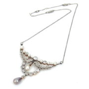 Edwardian 3.50ct Old Mine Cut Diamond & Large Natural Pearl Platinum & Gold Necklace BC38-4
