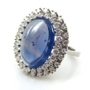 GIA 7.0ct Natural Untreated Sapphire & 1.80ct Diamond 18K White Gold Ring MH10-9