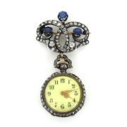 Antique 5.5ct Rose Cut Diamond & 3.5ct Sapphire Silver & Gold Pocket Watch& Fob MH10-15