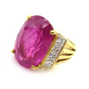 Estate 17.63ct Ruby & 2.0ct Princess Cut Diamond 18K Gold Ring Certified MH10-19