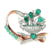 Vintage 2.75ct Diamond & 8.50ct Emerald Platinum & 14K Rose Gold Bouquet Brooch ZC13-6