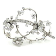 Vintage 10.50ct Old Cut Diamond & Platinum Floral Brooch ZC13-7