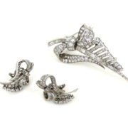 Vintage French 10.0ct Diamond & 18K White Gold Earring & Brooch Set ZC13-9