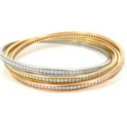 Estate Cartier Trinity 9.0ct Diamond & 18K White Yellow & Rose Gold Revolving Bangle ZC13-12