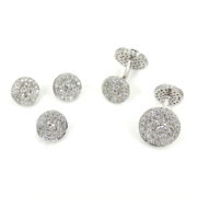 Estate Mimi 4.25ct Diamond & 18K White Gold Button Shape Studs & Cufflinks Tuxedo Set ZC13-14