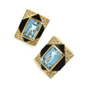 Vintage 1.20ct Diamond 12.0ct Aquamarine & Onyx 18K Yellow Gold Clip Earrings ZC13-16
