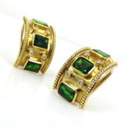 Vintage 0.40ct Diamond & 6.0ct Chrome Tourmaline 18K Yellow Gold Earrings ZC13-17