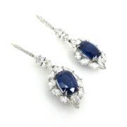 Fine 13.02ct Sapphire & 6.26ct Diamond Platinum Drop Earrings ES27-13