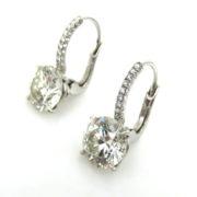 Rare 4.21ct K-SI1 GIA Certified Diamond Platinum Wire Drop Earrings ES27-14