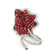 Rare Ambrosi 4.75ct Vivid Orange Sapphire & 1.91ct Diamond 18K Gold Flower Ring ES27-1