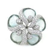 Rare Ambrosi 4.82ct Diamond & 3.80ct Aquamarine 18K Gold Flower Brooch ES27-3