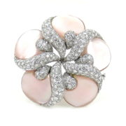 Rare Ambrosi 5.10ct Diamond & Mother of Pearl 18K Gold Flower Brooch ES27-4