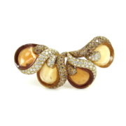 Rare Ambrosi 3.01ct Diamond & 6.55ct Citrine 18K Gold Floral Brooch ES27-5