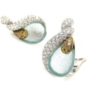 Rare Ambrosi 4.15ct Diamond & 1.60ct Aquamarine 18K Gold Clip Earrings ES27-6