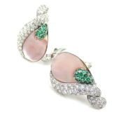 Rare Ambrosi 2.95ct Diamond & 1.30ct Emerald 18K White Gold Floral Earrings ES27-8