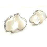 Rare Ambrosi 0.22ct Diamond & Mother of Pearl 18K White Gold Cloud Earrings ES27-11